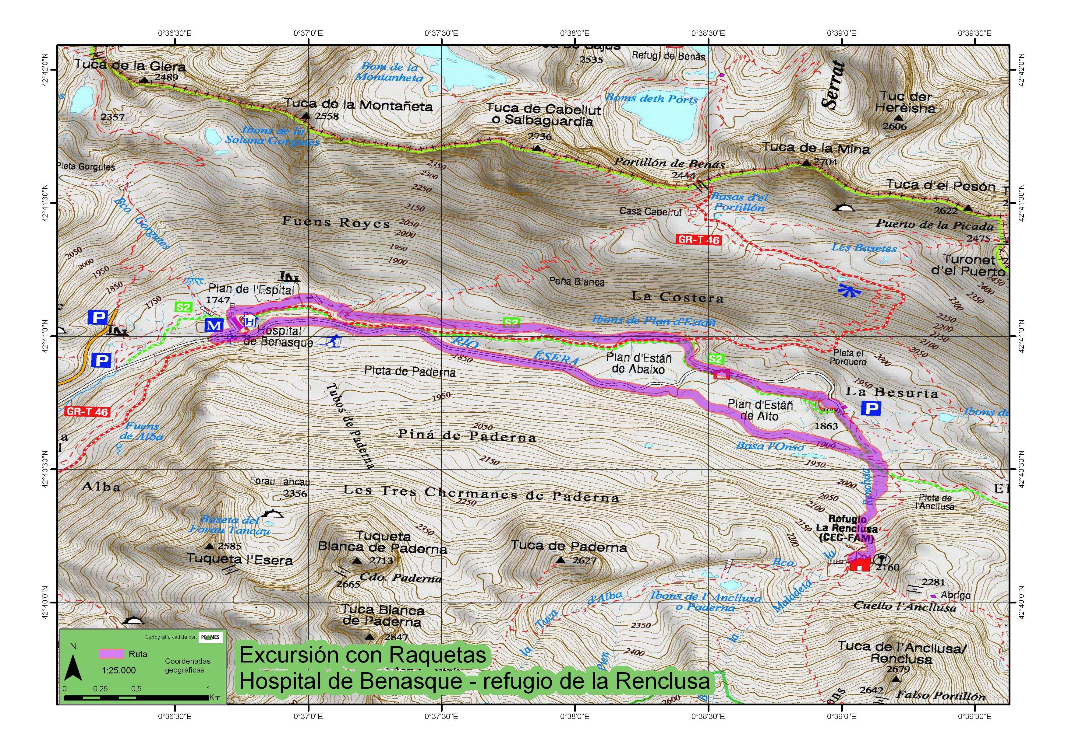 Mapa de la ruta Llanos del Hospital-Renclusa-Besurta-Hospital.