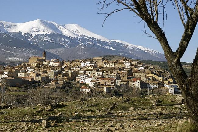Vista de Alcalá de Moncayo, con la montaña al fondo.