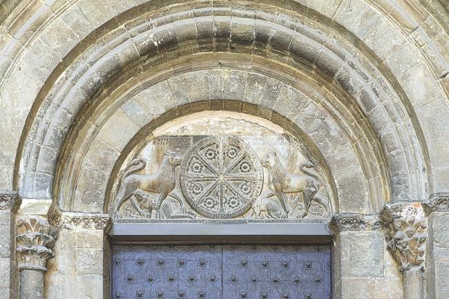 Portada sur de la catedral de Jaca.