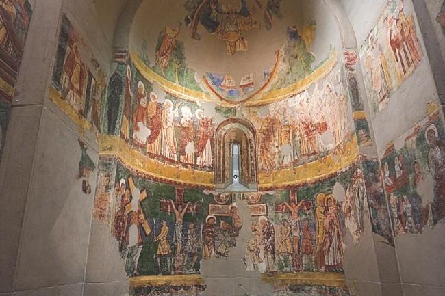 Museo Diocesano, pinturas murales románicas procedentes de Bagüés.