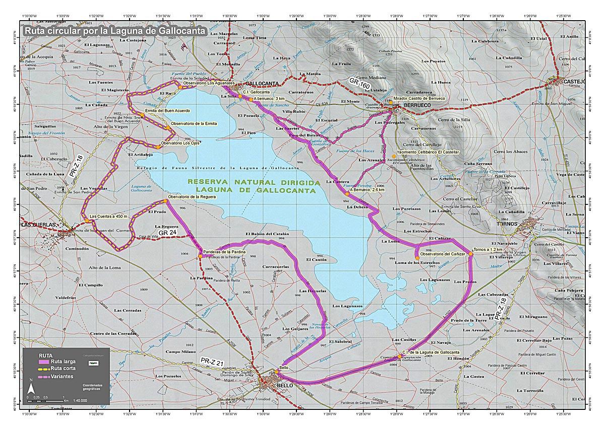 Vuelta a la laguna de Gallocanta (cartografía: Prames).