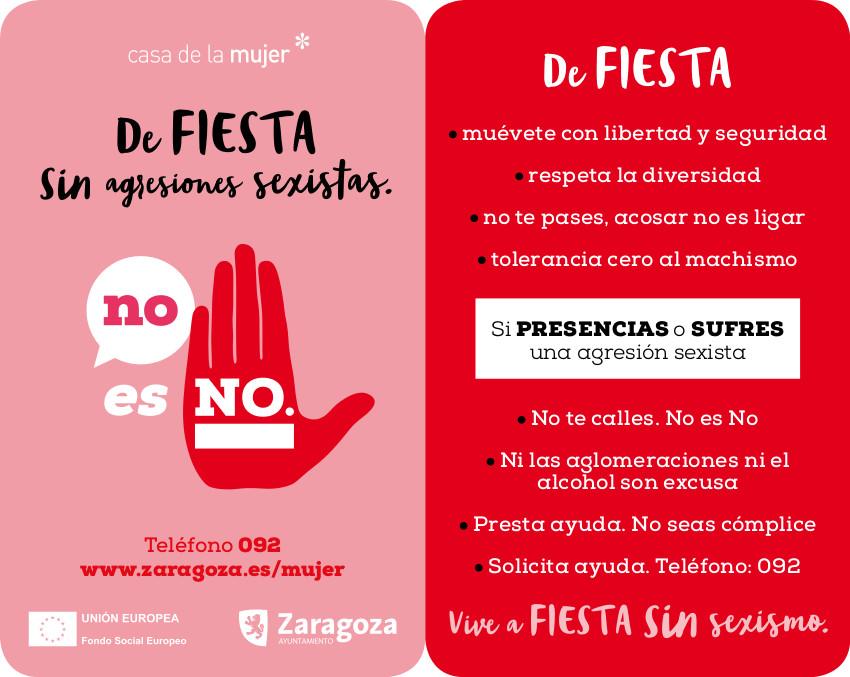 """Disfruta de las fiestas  diciendo no al sexismo (díptico de la campaña """"NO es NO"""" del Ayuntamiento de Zaragoza)."""