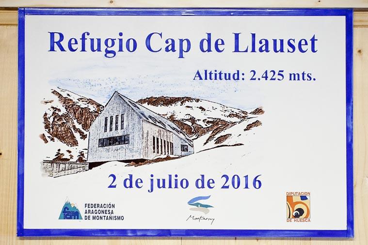 Refugio de Cap de Llauset, placa.