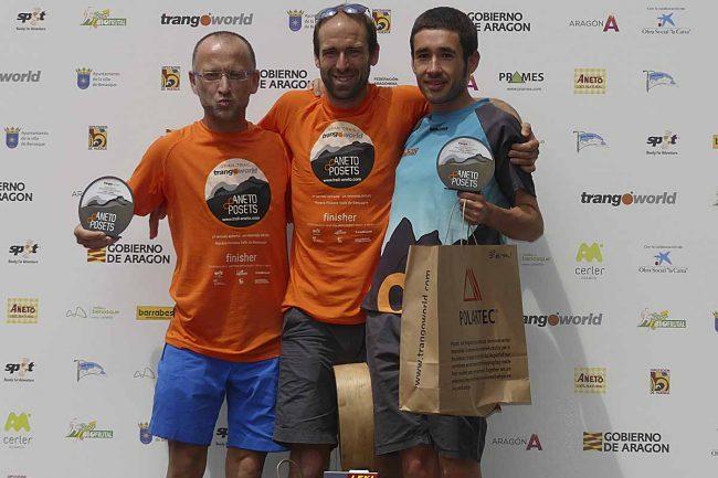 Ganadores del Gran Trail Aneto-Posets (categoría absoluta nasculina):1º Frédéric LAUREAU  (16:37:22), 2º Jaime BORDERA LLADOSA , 3º José Manuel GASCA PEREZ.