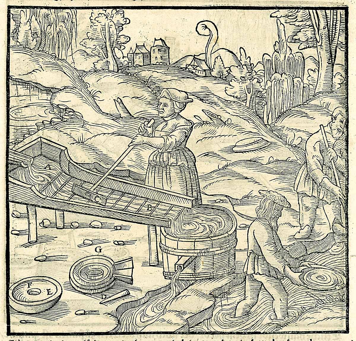 onstruyendo la tabla periódica. Extracción de oro en ríos de Alemania.
